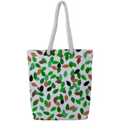 Leaves True Leaves Autumn Green Full Print Rope Handle Tote (small)