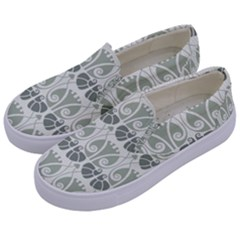 Teal Beige Kids  Canvas Slip Ons by 8fugoso
