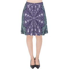 Star And Flower Mandala In Wonderful Colors Velvet High Waist Skirt by pepitasart
