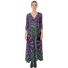 Star And Flower Mandala In Wonderful Colors Button Up Boho Maxi Dress by pepitasart