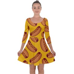Hot Dog Seamless Pattern Quarter Sleeve Skater Dress