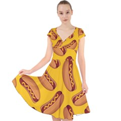 Hot Dog Seamless Pattern Cap Sleeve Front Wrap Midi Dress