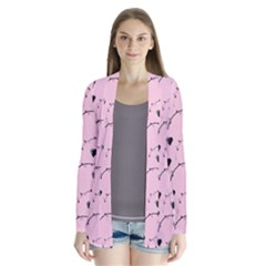 Love Hearth Pink Pattern Drape Collar Cardigan by Celenk