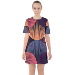 Geometric Swirls Sixties Short Sleeve Mini Dress