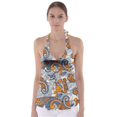 Paisley Pattern Babydoll Tankini Top by Celenk
