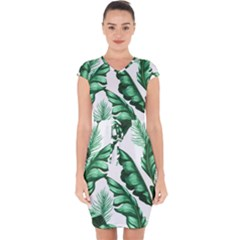 Banana Leaves And Fruit Isolated With Four Pattern Capsleeve Drawstring Dress