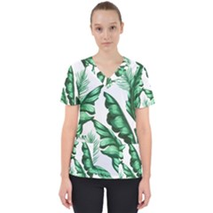 Banana Leaves And Fruit Isolated With Four Pattern Scrub Top by Celenk