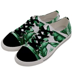 Banana Leaves And Fruit Isolated With Four Pattern Men s Low Top Canvas Sneakers by Celenk