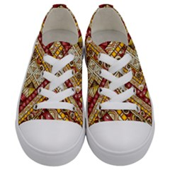Ethnic Pattern Styles Art Backgrounds Vector Kids  Low Top Canvas Sneakers
