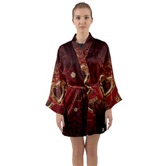 Wonderful Hearts With Floral Elemetns, Gold, Red Long Sleeve Kimono Robe by FantasyWorld7