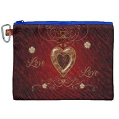 Wonderful Hearts With Floral Elemetns, Gold, Red Canvas Cosmetic Bag (xxl) by FantasyWorld7