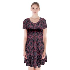 Modern Ornate Pattern Short Sleeve V-neck Flare Dress by dflcprints