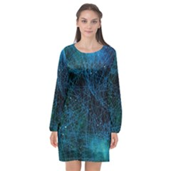 System Network Connection Connected Long Sleeve Chiffon Shift Dress