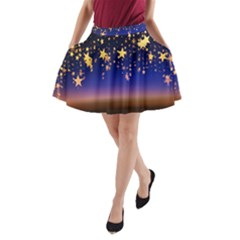 Christmas Background Star Curtain A Line Pocket Skirt by Celenk