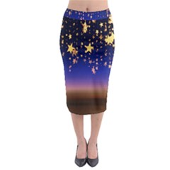 Christmas Background Star Curtain Midi Pencil Skirt by Celenk