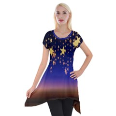 Christmas Background Star Curtain Short Sleeve Side Drop Tunic