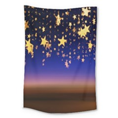 Christmas Background Star Curtain Large Tapestry by Celenk