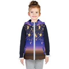 Christmas Background Star Curtain Kid s Puffer Vest