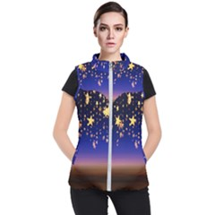 Christmas Background Star Curtain Women s Puffer Vest