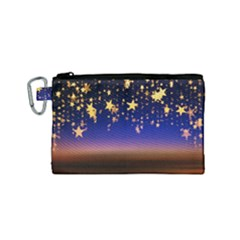 Christmas Background Star Curtain Canvas Cosmetic Bag (small) by Celenk