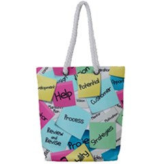 Stickies Post It List Business Full Print Rope Handle Tote (small) by Celenk
