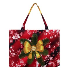 Christmas Star Winter Celebration Medium Tote Bag by Celenk