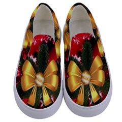 Christmas Star Winter Celebration Kids  Canvas Slip Ons