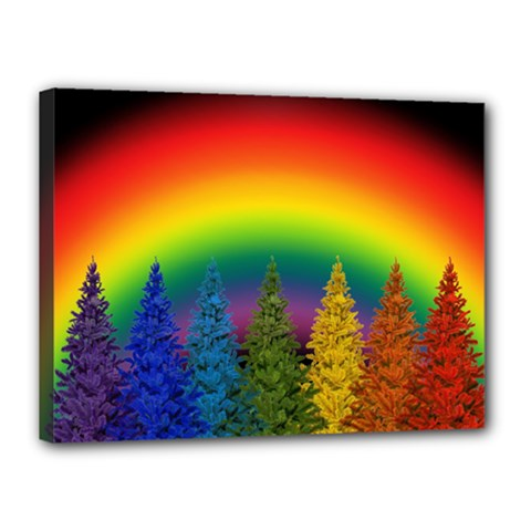 Christmas Colorful Rainbow Colors Canvas 16  X 12  by Celenk