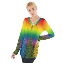 Christmas Colorful Rainbow Colors Tie Up Tee