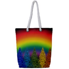 Christmas Colorful Rainbow Colors Full Print Rope Handle Tote (small)