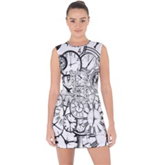 Time Clock Watches Time Of Lace Up Front Bodycon Dress