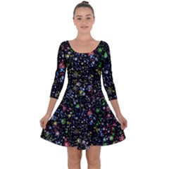 Universe Star Planet All Colorful Quarter Sleeve Skater Dress