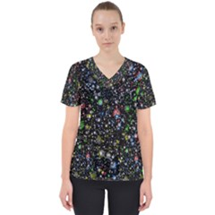Universe Star Planet All Colorful Scrub Top by Celenk