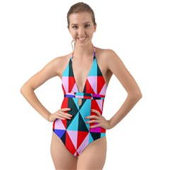 Geometric Pattern Halter Cut Out One Piece Swimsuit
