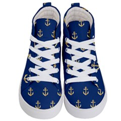 Gold Anchors Background Kid s Hi Top Skate Sneakers