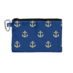 Gold Anchors Background Canvas Cosmetic Bag (medium) by Celenk