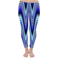 Waves Wavy Blue Pale Cobalt Navy Classic Winter Leggings by Celenk