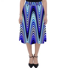 Waves Wavy Blue Pale Cobalt Navy Folding Skater Skirt by Celenk