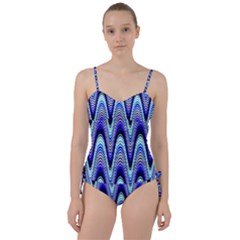 Waves Wavy Blue Pale Cobalt Navy Sweetheart Tankini Set by Celenk