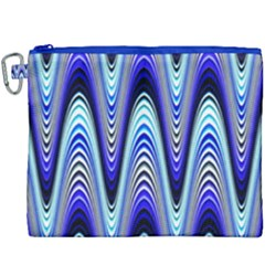 Waves Wavy Blue Pale Cobalt Navy Canvas Cosmetic Bag (xxxl) by Celenk