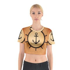 Nautical Anchor Marine Ocean Sea Cotton Crop Top