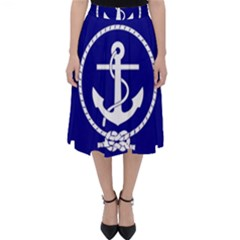 Anchor Flag Blue Background Folding Skater Skirt