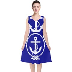 Anchor Flag Blue Background V Neck Midi Sleeveless Dress  by Celenk
