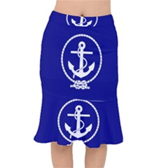 Anchor Flag Blue Background Mermaid Skirt by Celenk
