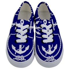 Anchor Flag Blue Background Kids  Classic Low Top Sneakers