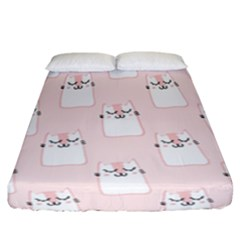 Pattern Cat Pink Cute Sweet Fur Fitted Sheet (california King Size) by Celenk