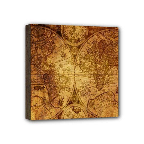 Map Of The World Old Historically Mini Canvas 4  X 4