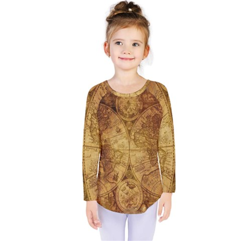 Map Of The World Old Historically Kids  Long Sleeve Tee by Celenk