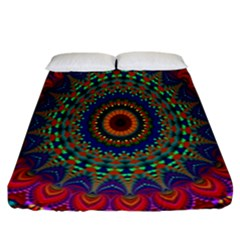 Kaleidoscope Mandala Pattern Fitted Sheet (california King Size) by Celenk