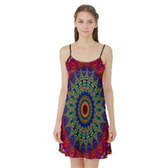 Kaleidoscope Mandala Pattern Satin Night Slip